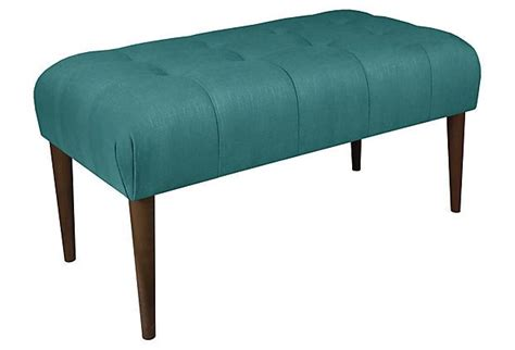 teal bench beau 39 quot tufted bench teal