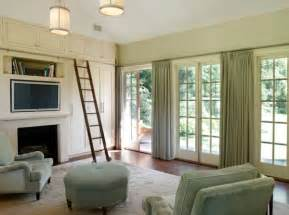 Drapes with a tinge of green go along well with a sliding door