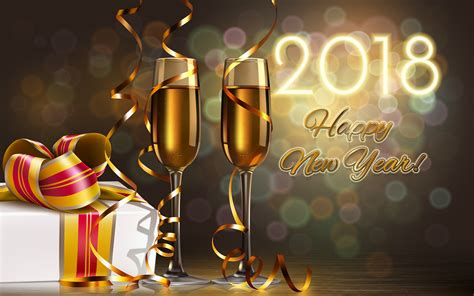 new year gifts 2018 pictures 2018 new year chagne 3d graphics 3840x2400