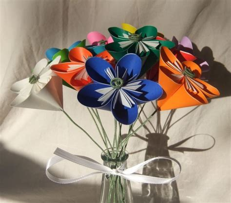 Origami Flower Arrangement - rainbow origami flower bouquet aftcra