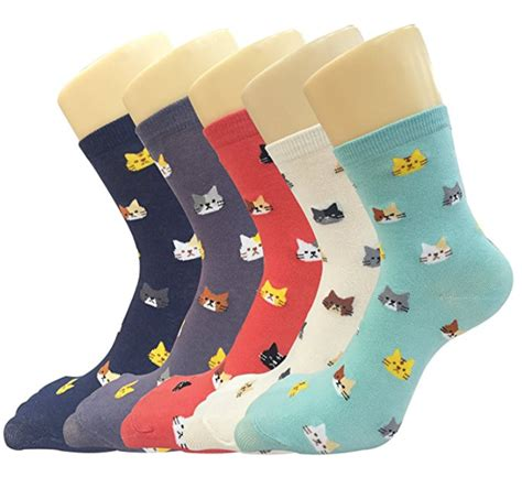 cute patterned socks cat print pattern socks set of 5 good cat gifts