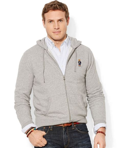 Rompi Vest Zipper Polos 12 polo ralph big and zip fleece hoodie in gray for lyst