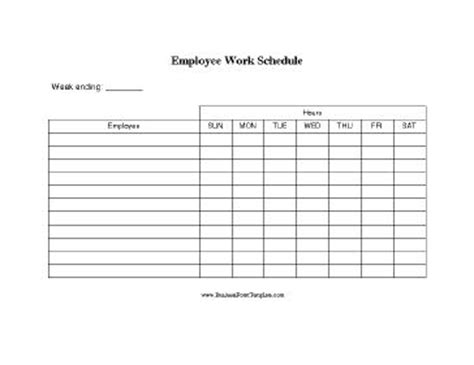 A Basic Printable Form On Which Small Businesses Can List Several Employees Along With Their 7 Day Work Schedule Template