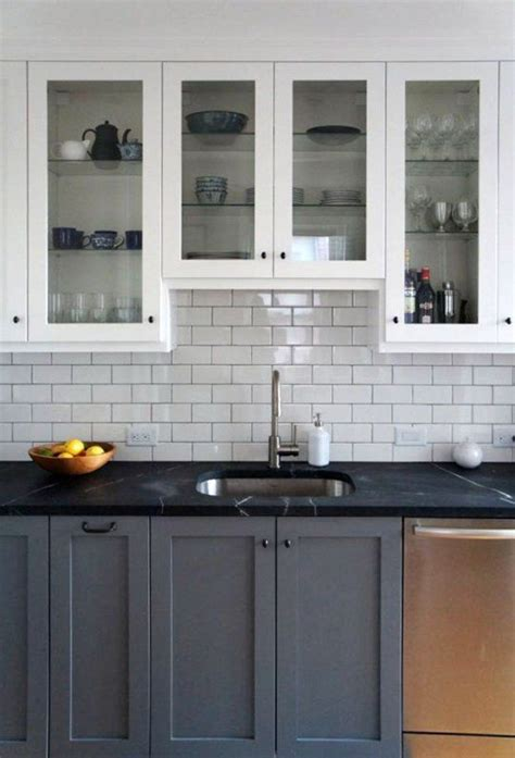 Apartment Kitchen Cabinets by Two Tone Gray And White Kitchen Cabinets With Black
