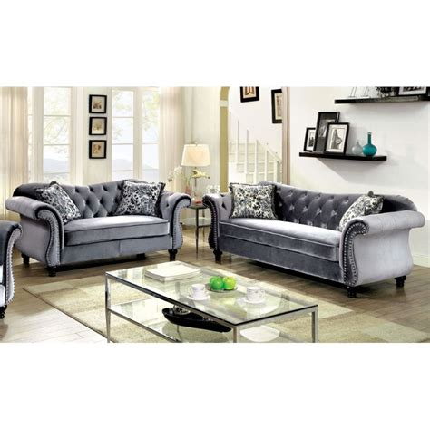 Grey Tufted Sofa Set Furniture Of America 2 Tufted Sofa Set In Gray Idf 6159gy 2pc