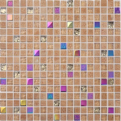 1 piece stained glass mixed stone mosaic tile square for