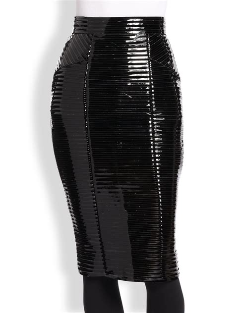 burberry ribbed faux patent leather pencil skirt in black