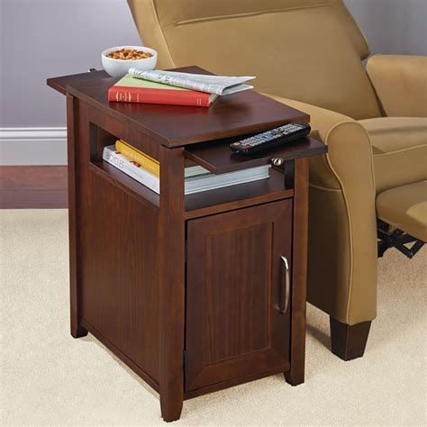 Recliner Side Table The Easy Access Recliner Side Table Hammacher Schlemmer