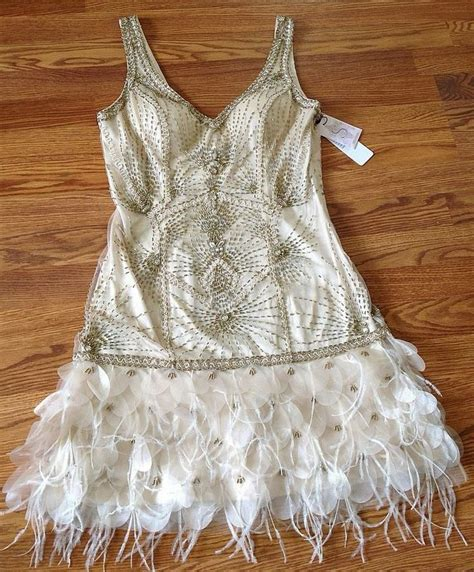 beaded feather dress sue wong 1920 s gatsby chagne beaded feather evening