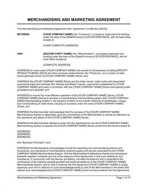 Letter Of Agreement For Marketing Merchandising And Marketing Agreement Template Sle Form Biztree