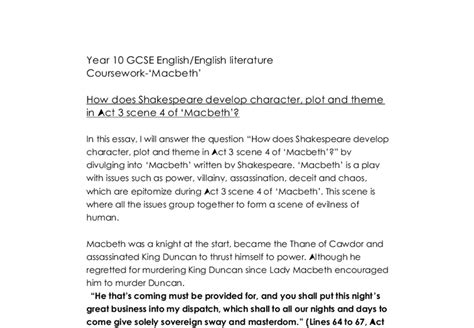 themes for macbeth act 3 how does shakespeare develop character plot and theme in