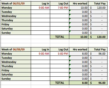 time card tracker template 6 free timesheet templates for tracking employee hours