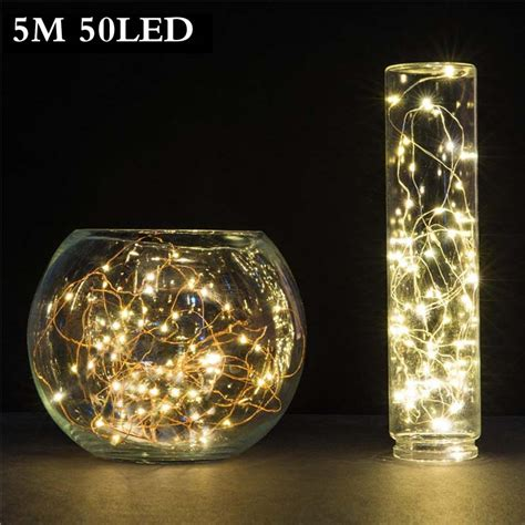 5m 50 Led 3xaa Battery Operated Led String Lights For Xmas Garland Battery Operated Led Lights