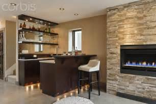 bar and fireplace in modern home home bar design