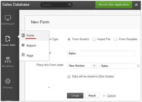 Zoho Creator Adding A New Form Zoho Creator Page Templates
