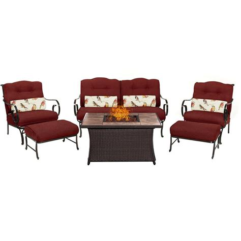 home depot l sets hton bay niles park 5 piece gas fire pit patio seating