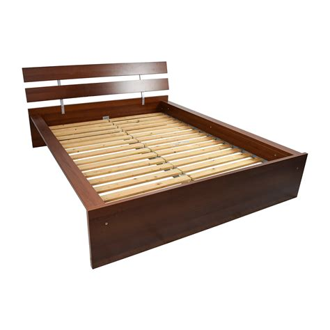 64 Off Ikea Ikea Brown Queen Bed Frame Beds Used Bed Frame