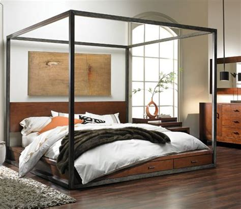 Platform Canopy Bed Bring The Look Of A Nyc Loft To Your Bedroom With This Tribeca Platform Bed The Forged