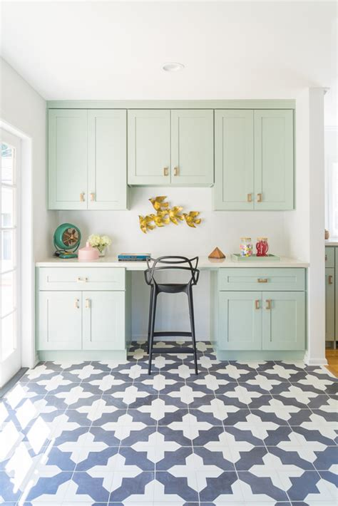 quirky design inspiration beautiful mint kitchen cabinets patterned tile floor