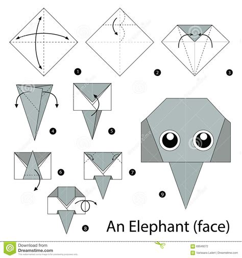 How To Make A Paper Elephant - step by step how to make origami an elephant