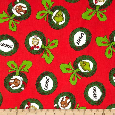 christmas pattern material how the grinch stole christmas ornaments holiday red