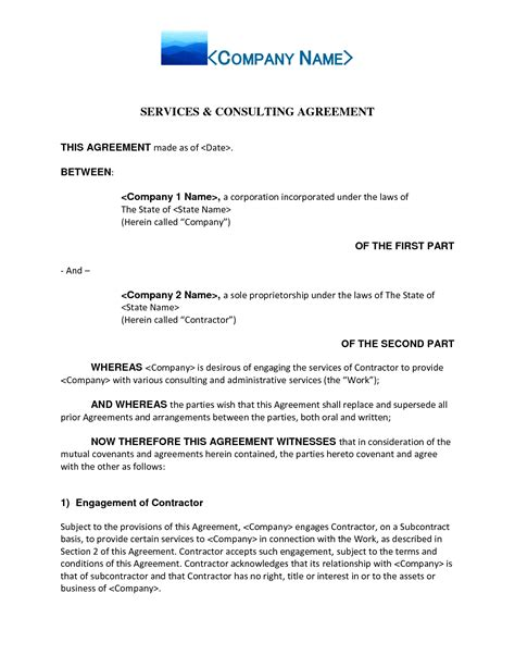 free contractor contract template best photos of contract agreement template sle