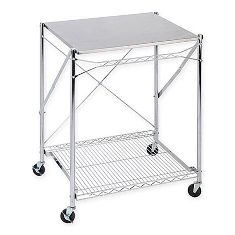 Folding Table With Wheels Honey Can Do 174 Household Folding Work Table With Wheels In Stainless Steel Bed Bath Beyond