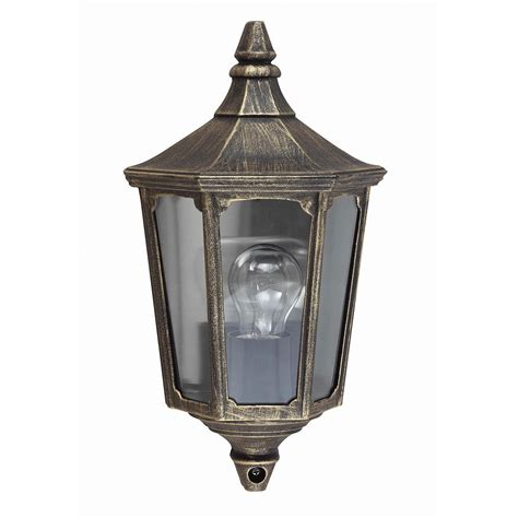 lade fluorescenti compatte cricklade outdoor half lantern in a black gold finish ip44