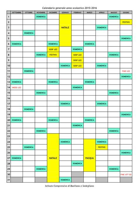 Calendario Ist 2015 I C Basiliano E Sedegliano Istituto Calendario Anno