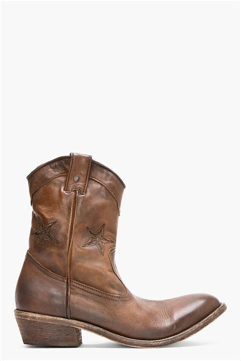 in cowboy boots diesel brown leather korkero cowboy boots in brown for