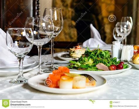 Dine On Food by Served Banquet Restaurant Table Stock Image Image Of