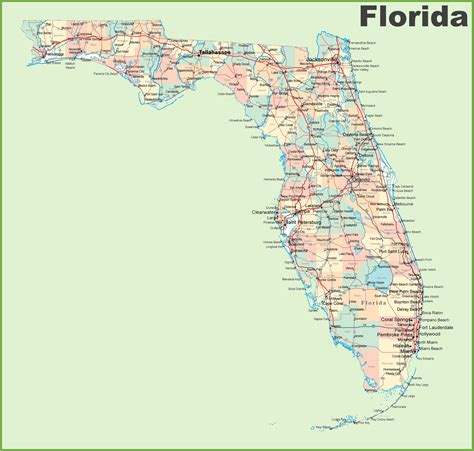 florida road map with cities and towns