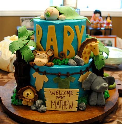 Baby Shower Theme Safari by Two Tier Safari Theme Blue Baby Shower Cake Jpg 1 Comment