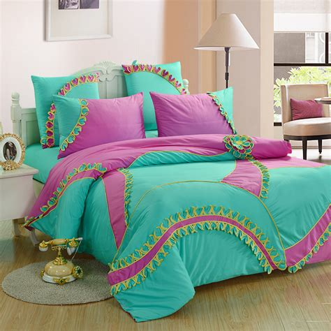 Handmade Bed - luxury 6pcs bedding set bed set 3d handmade trimmed