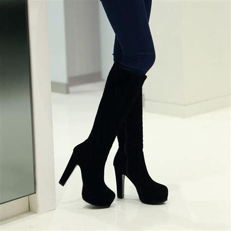 black blue thick platform high leg boots square chunky