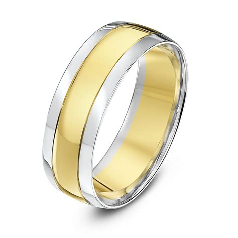 9kt white yellow gold court grooved 7mm wedding ring
