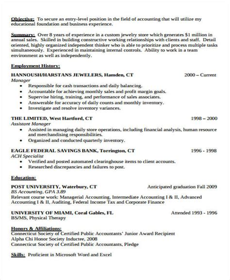 Sle Entry Level Accounting Resume by Sle Of Entry Level Accounting Resume 28 Images Accounting Resume Sales Lewesmr Entry Level