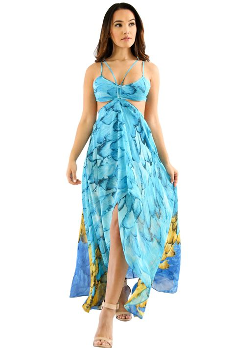 turquoise multi color feather print charming wear