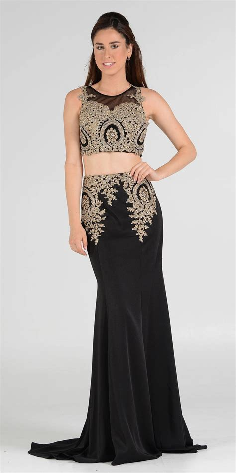 Dress Longcrop 95rb embellished crop top sleeveless two prom dress discountdressshop