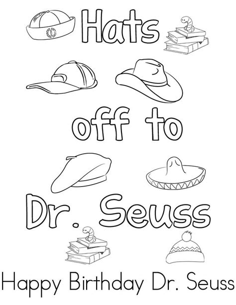 happy birthday dr seuss pages coloring pages