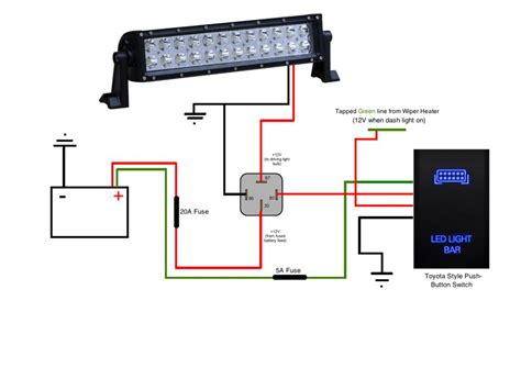 wiring diagram for led light bar switch circuit and