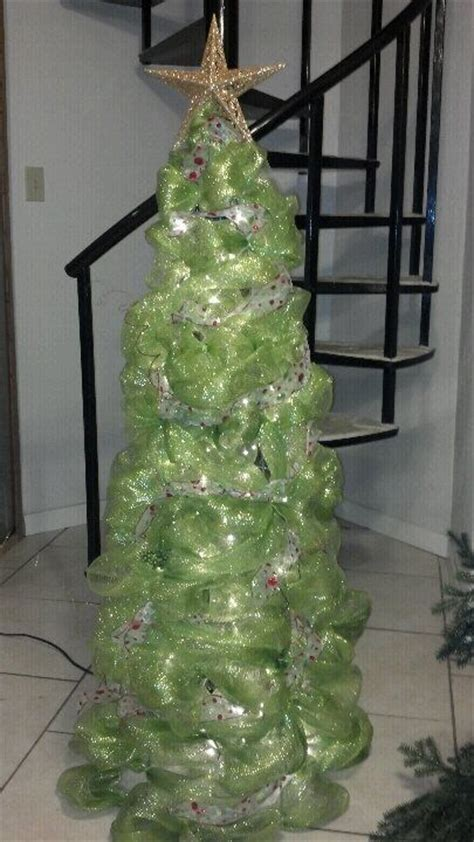 christmas tree made from deco mesh ribbon 4 quot zip ties and