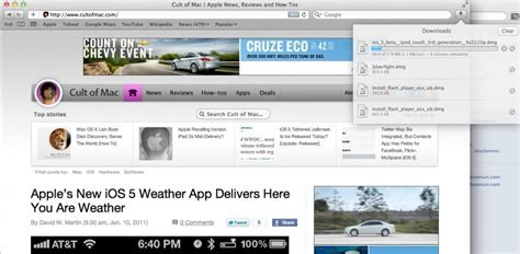 mac os x top bar safari 5 1 beta gets awesome ios like download manager os x lion cult of mac