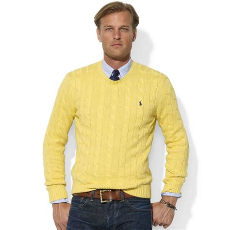 Yellow Sweater ralph roving crew neck cable cotton sweater in yellow for fall yellow lyst