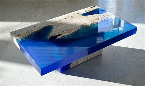 Sal La Table by Cut Travertine Marble And Resin Merge To Create Lagoon