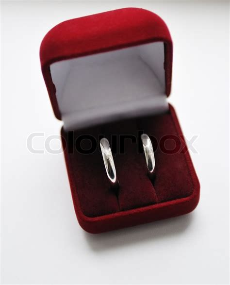 Two Wedding Rings by Two Wedding Rings In Box Stock Photo Colourbox