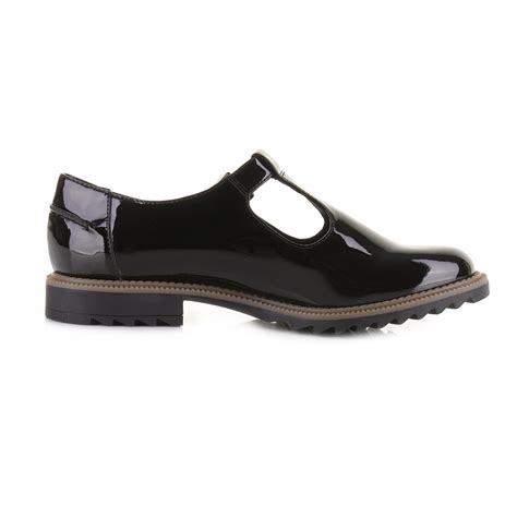 womens flat t bar shoes womens clarks griffin monty black patent t bar smart