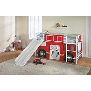 fire truck bed with slide essential home slumber n slide curtain fire truck home