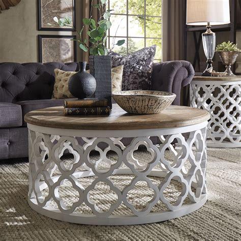 wood drum coffee table signal vince reclaimed wood moroccan trellis drum