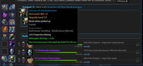 wow upgrade alchemy trinket world of warcraft when upgrade an item in wow does the